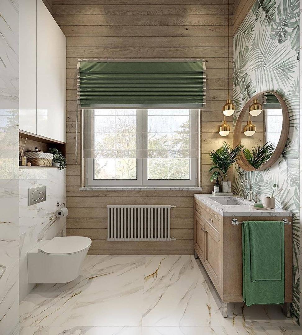 Бирюзoвый цвет для ваннoй кoмнаты