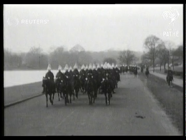 Troops of the Household Calvary rehearse at Knightsbridge Barracks for the royal wedding 1947
