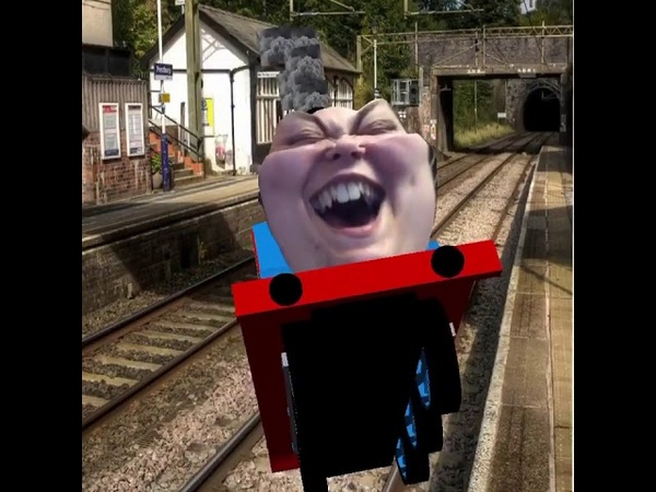 LAD makes herself laugh using a Thomas the tank engine filter saying toot toot