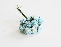 Mini розы 1 см - бирюзовый + белый  5 шт - 38 руб  диаметр розы 1 см высота цветка 0,6см длина стебля 5 см