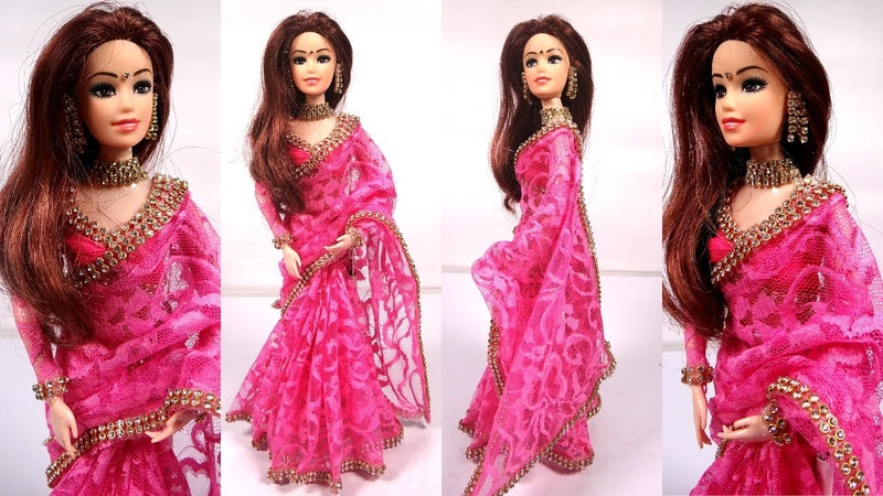 Gorgeous Barbie PINK NET SAREE Making Beautiful Party Wear doll Dress Stylish barbie saree draping