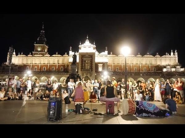 Sensual guitar and drum street duo performance(Aga Oramus Jacek Piotrowicz)