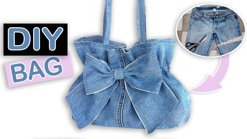 DIY LOVELY JEANS BAG BOW DESIGN Fast Jeans Recycle Idea into a Trendy Purse