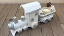 Tren de Navidad con material reciclado