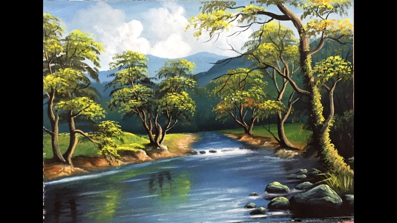 How to draw landscape with trees and reflection on water / Draw Riverside