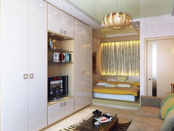 встроенная кровать в однокомнатной квартире фото что