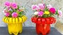 Chế tạo chai nhựa thành chậu hoa đẹp│trồng hoa mười giờ