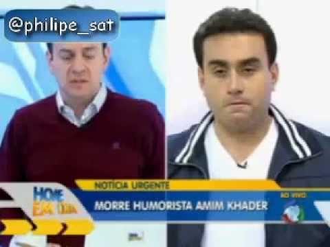 Falsa morte de Amin Khader sendo anunciada ao vivo no Hoje em Dia da Rede