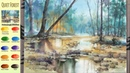 Without Sketch Landscape Watercolor - Quiet Forest (color mixing, Arches rough) NAMIL ART