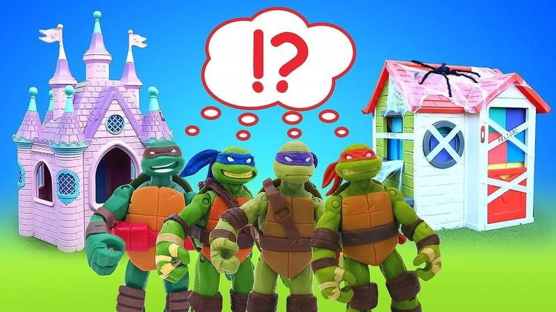 Las tortugas ninja pueblan la casa peligrosa. Juguetes de dibujos animados