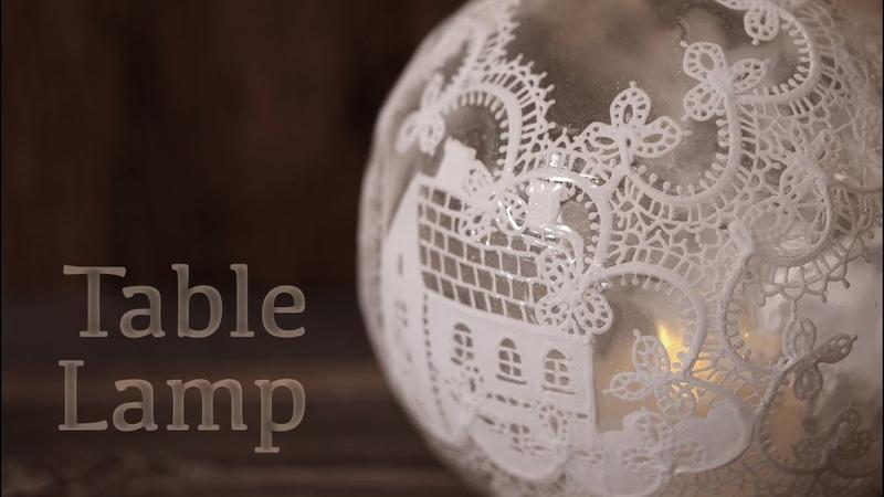 レジン×アクリル絵の具 テーブルランプ DIY Frosting with resin Table lamp