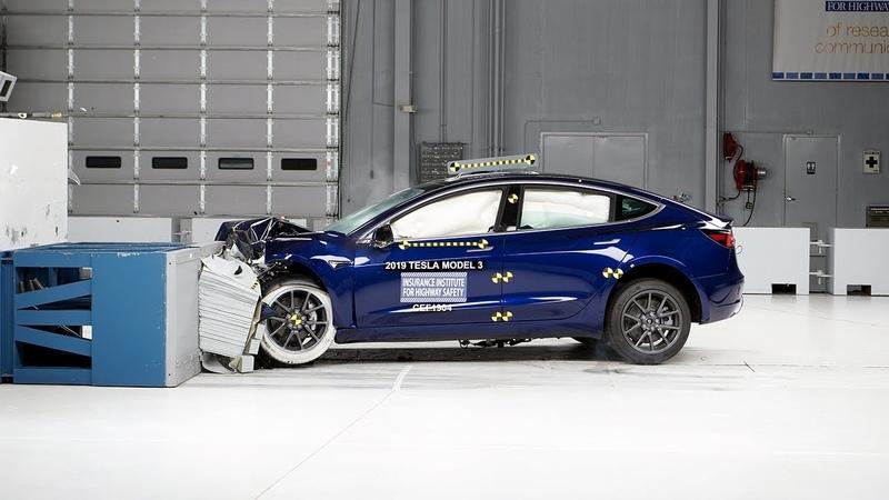 2019 Tesla Model 3 moderate overlap IIHS crash test