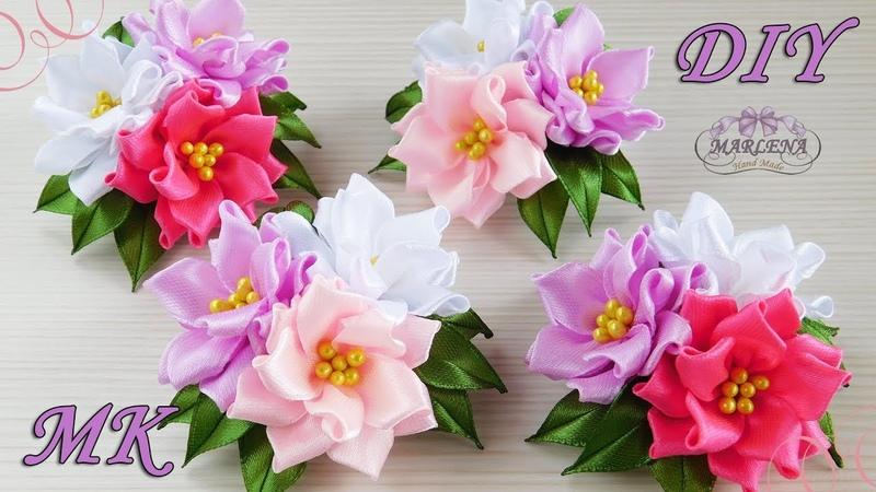 🌺 Цветы из узких лент Зажимы с тройным цветком Канзаши МК DIY