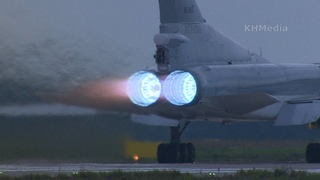 звук как у ракеты, Ту-22М3 взлетает на форсаже с голубым пламенем RF-34050