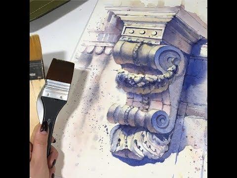 Мастер класс по скетчингу акварелью Архитектурная деталь Рисуем акварелью архитектурный элемент