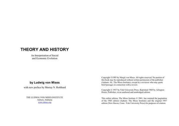 Mises, Ludwig von - Theory And History