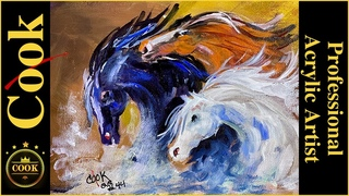 Wild Horses plus PRE-AUCTION Acrylic Painting Quarantine Quickie #44 with Ginger Cook