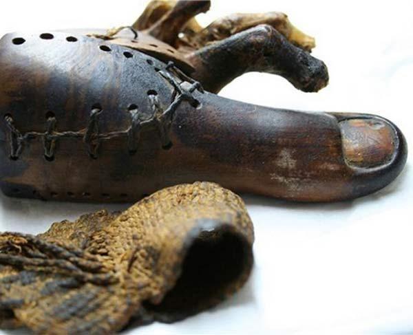 Протез пальца ноги (3000 лет) Деревянный палец найденный на ноге мумии, возраст которой более 3000 лет, считается древнейшим протезом на планете. Ученые из университета Манчестера создали копию