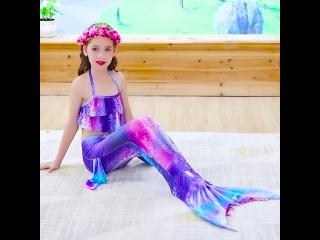 Купальный костюм с хвостом Русалочки для девочек, Аниме Косплей