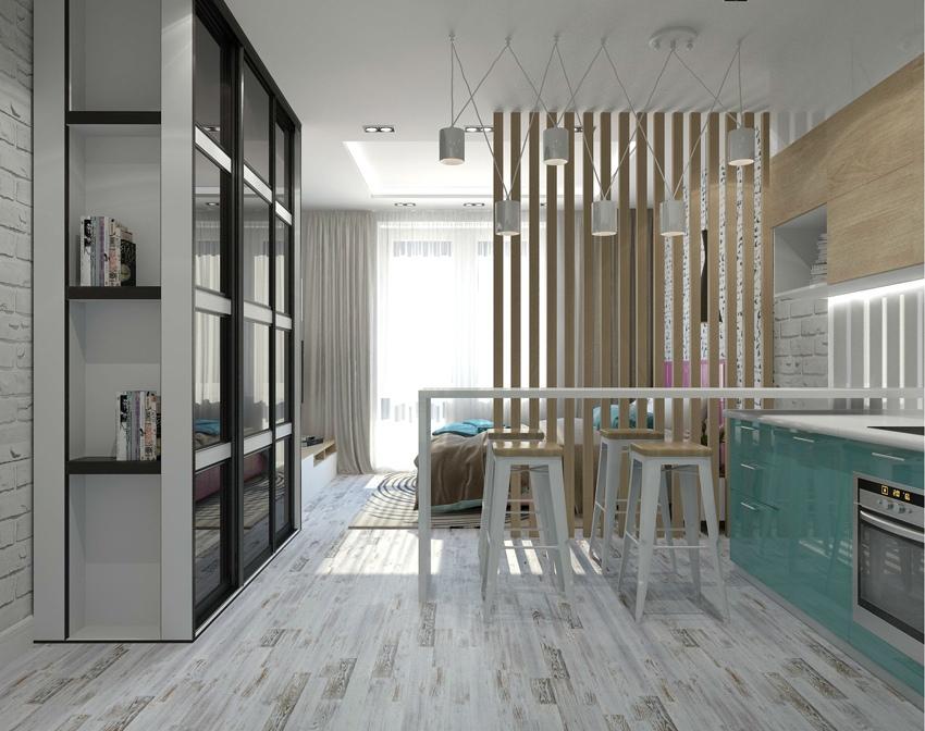 Проект типовой прямоугольной студии 26 м.