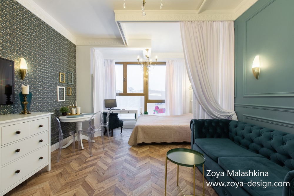 Интерьер квартиры 32 м для молодой пары в Москве.