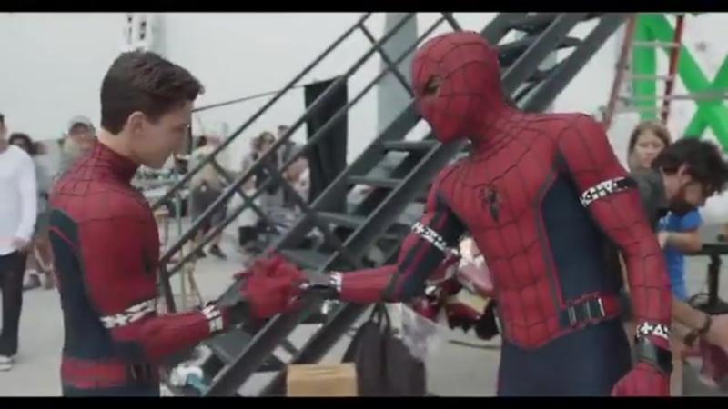 The Spidey Shake @TomHolland1996 Spider Man stuntman @MarvinEDRoss on the set of Captain America Civil War M Ross IG