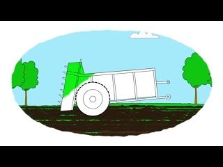 Мультик - Раскраска. Учим Цвета - Тракторные прицепы (часть 1)