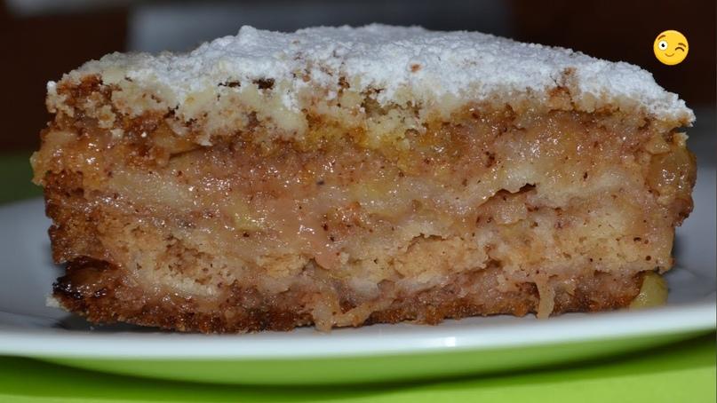 Постный яблочный пирог с манкой и корицей🍰👍🏻