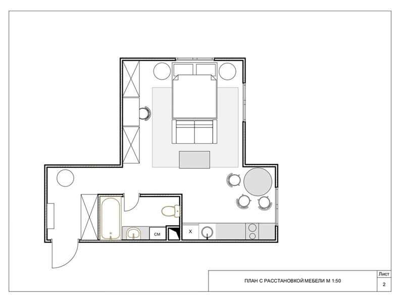 Дизайн квартиры-студии 36 кв.
