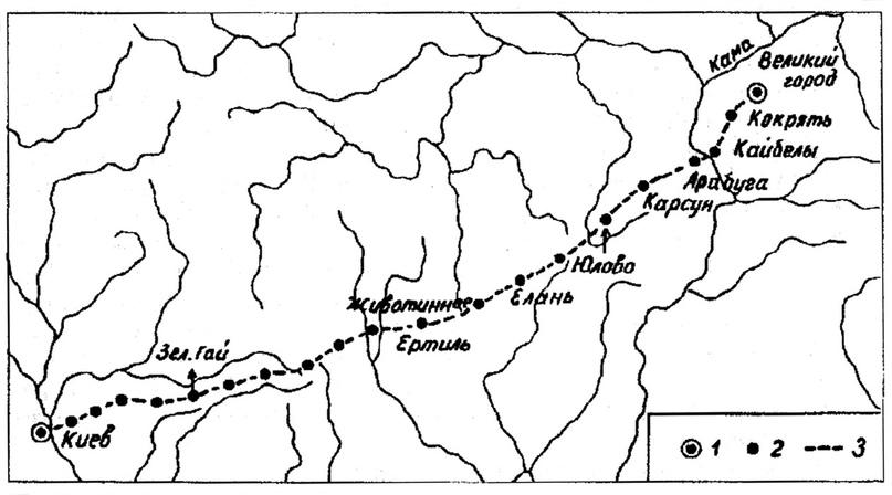 Карта торгового пути «Из Булгар в Киев». Из монографии д.и.н. Г.Н. Белорыбкина «Западное Поволжье в средние века».