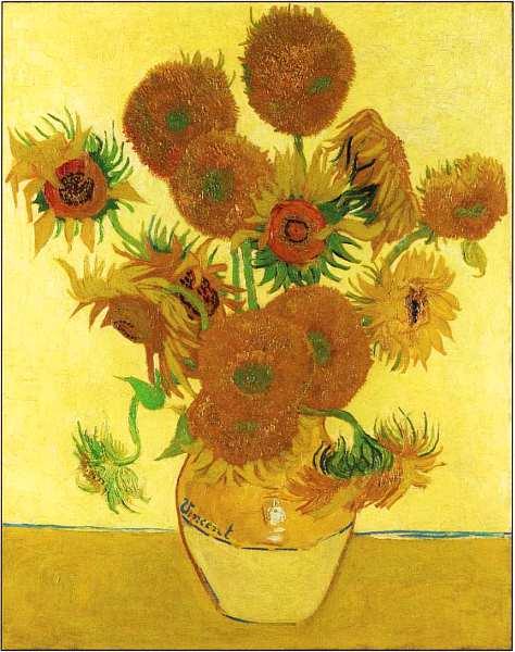 «Подсолнухи», Винсент ван Гог 1888г. Холст, масло. Размер: 92,1×73 см. Национальная галерея, Лондон «Подсолнухи» Ван Гога имеют такое же значение в его творчестве, как «Джоконда» для Леонардо,