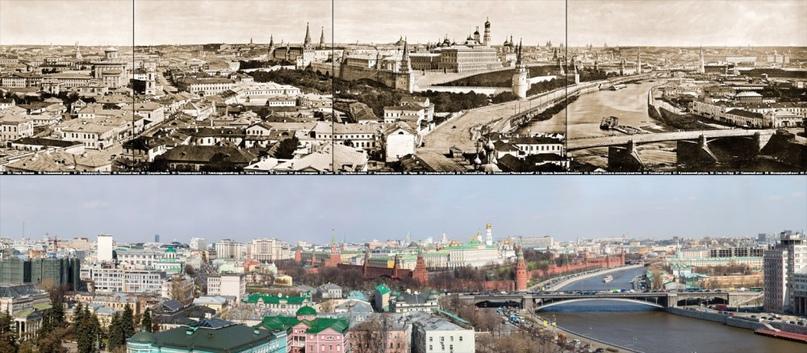 Панорама Москвы 1867 и 2017 годов с храма Христа Спасителя