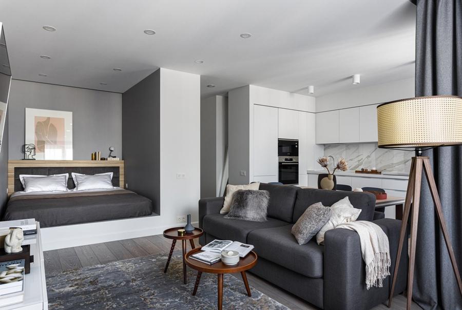 Интерьер квартиры 47 м (50,4 м с лоджией) в Реутове для молодой пары.