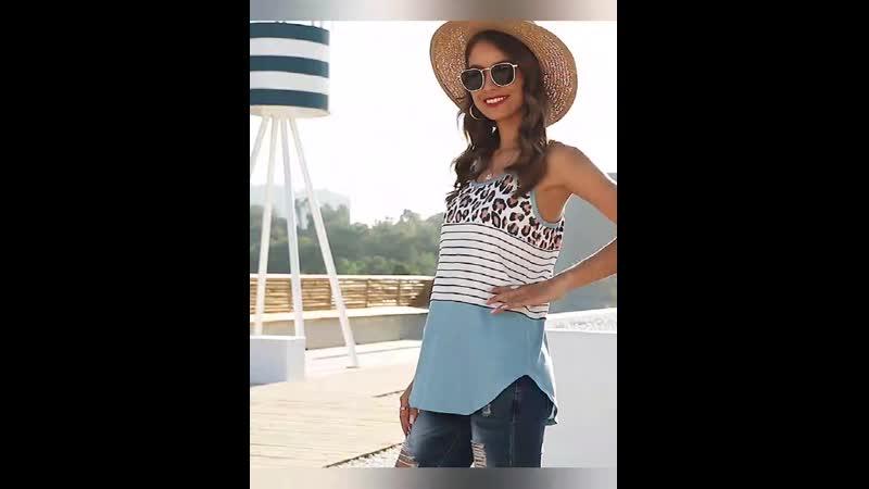 Summer Sexy Women Leopard Striped Chiffon Vest Sleeveless Clothes