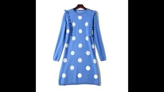 Bwb1998 новое осеннее платье женская одежда платье свитер в горошек маленькое свежее и свободное трикотажное платье в западном