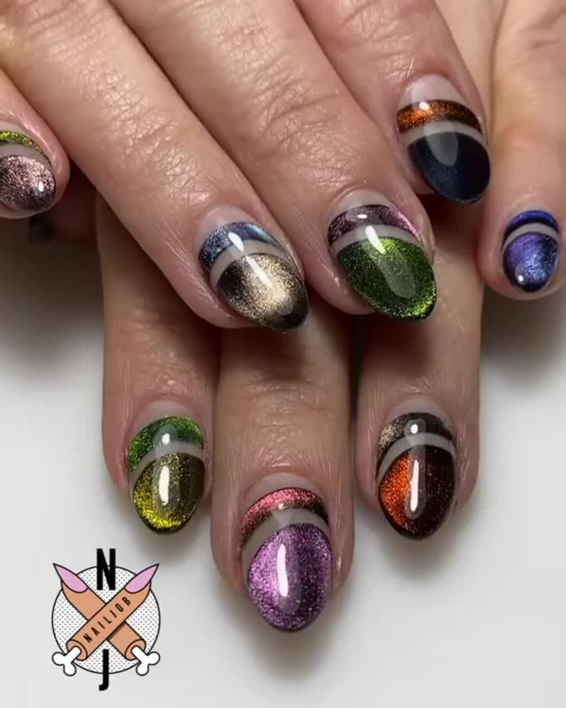 Маникюр / кошачий глаз на ногтях / дизайн ногтей с кошечкой
