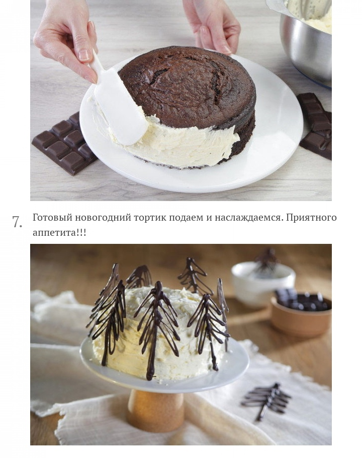 Новогодний торт с ёлками, изображение №4