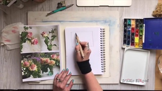 Акварель, розы. Запись прямого эфира. Мастер-класс. Watercolor roses by CanotStop Painting