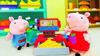 Play Doh Magasin : jeux avec de la pâte à modeler. Peppa et George Pig pour enfants.