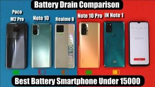 Redmi Note 10 Pro Vs Realme 8 Battery Drain Test/Note 10/Poco M2 Pro I Best Smartphone Under 15000
