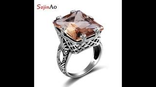 Женское кольцо с янтарем и квадратом, из стерлингового серебра 925 пробы, свадебные вечерние кольца